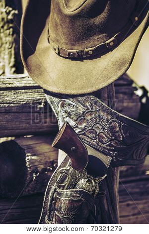 Cowboy Gun And Hat Outdoor