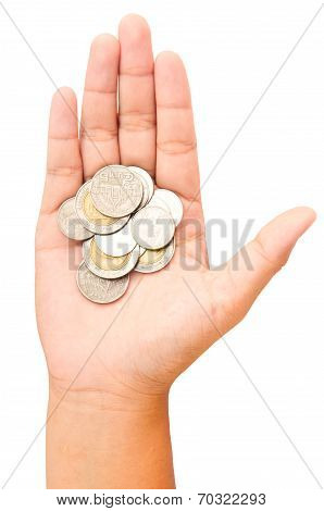 Thai Bath Coins In Women Hand