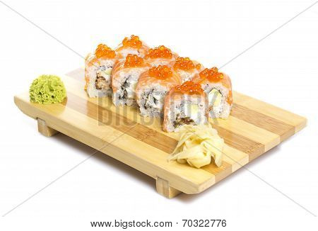 Sushi Roll Philadelphia With Red Roe Isolated On White Background