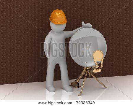 3D Man In Orange Helmet And Satellite Dish