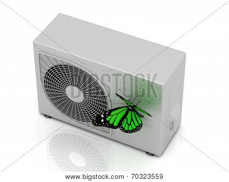One Green Butterfly Sits On A Street Conditioner