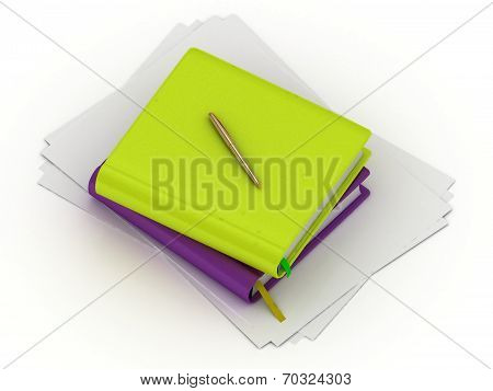 Two Organizers And Two Gold Pen