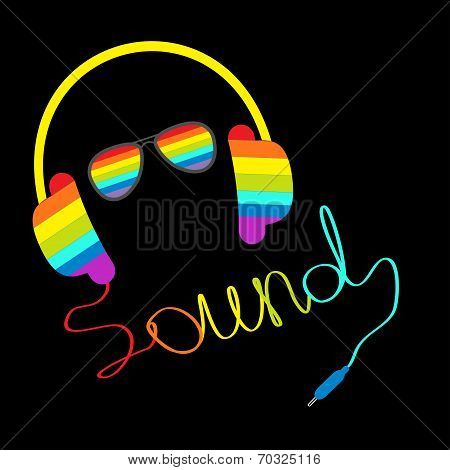 Rainbow Headphones With Cord In Shape Of Word Sound And Sunglasses. Music Card.