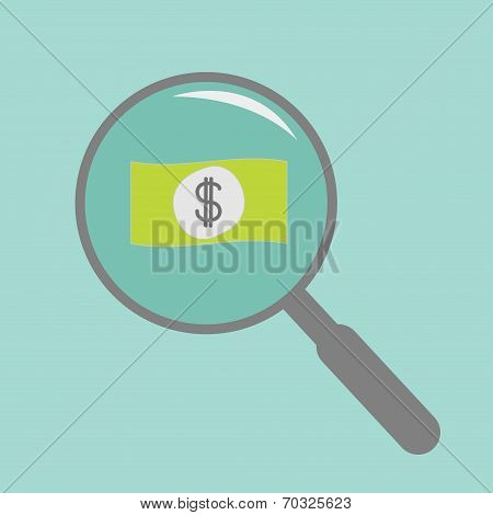 Magnifier And Dollar Bill. Flat Design Style.
