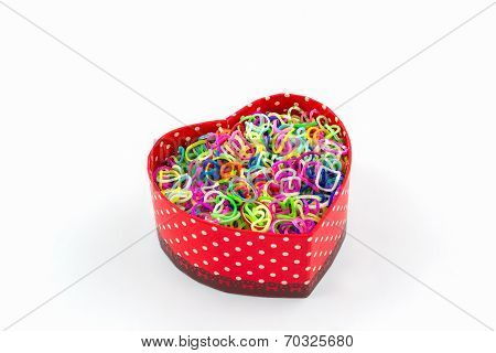 Colorful Elastic Rainbow Loom Bands In Gift Box Shaped Heart.