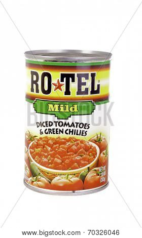 West Point - August 17, 2014: Can of Rotel Brand Mild Diced Tomatoes and chilies