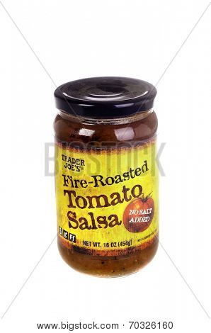 West Point - August 17, 2014: Jar of Trader Joe's Brand Fire Roasted Tomato Salsa