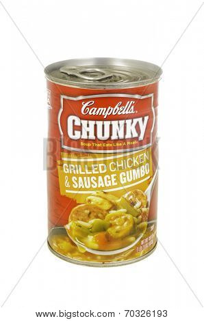 West Point - August 17, 2014: Can of Campbell's Chunky Grilled Chicken  and Sausage gumbo
