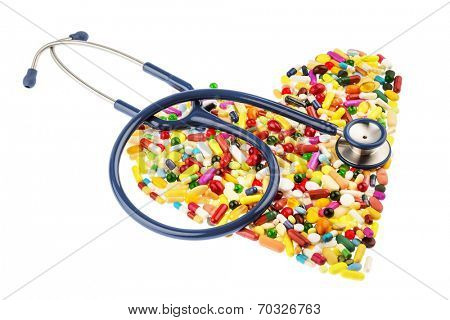 stethoscope and tablets in heart-shaped arrangement, symbol photo for heart disease, diagnosis and medication