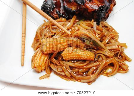 Rice Noodles With Sauce And Vegetables