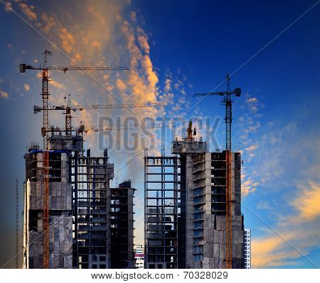 Building Construction Site Against Beautiful Blue Sky Use For Construction Industry And Multipurpose