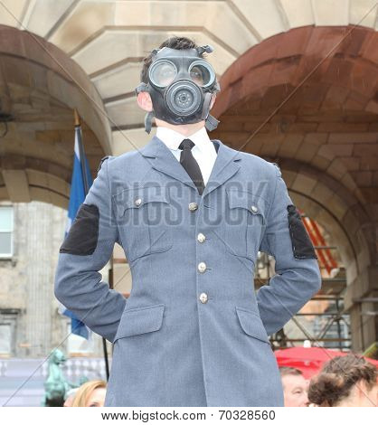 EDINBURGH - AUGUST 16: Member of The Human Zoo Theatre Company publicize their show The Hive during Edinburgh Fringe Festival on August 16, 2014 in Edinburgh Scotland