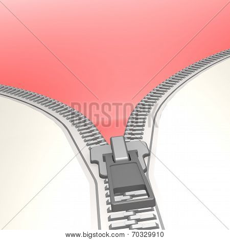 Isolated Zipper With Red Background