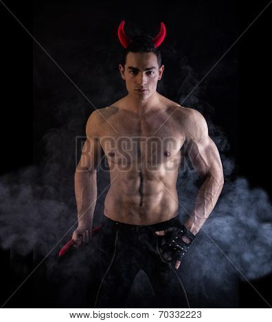 Sexy Young Man Wearing Devilish Horn Accessories