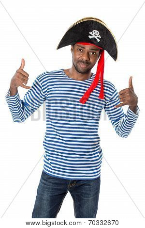 African American Man In Costume Pirate On White Background. Halloween Fancy Costume And Holiday