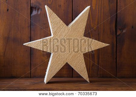 Texture Of Untreated Wooden Handmade Star For Christmas