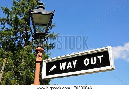 Way out sign on lamppost, Arley.