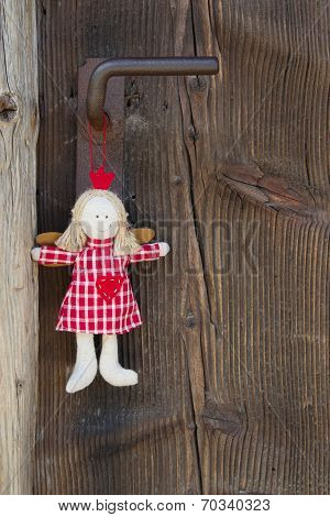 Crown Angel Hanging On Door Handle For Christmas Decoration With Wood In Country Style
