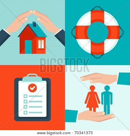 Vector Insurance Concepts In Flat Style