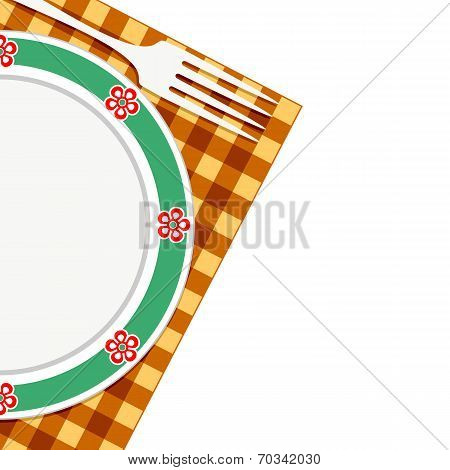 Plate And Fork On A Napkin
