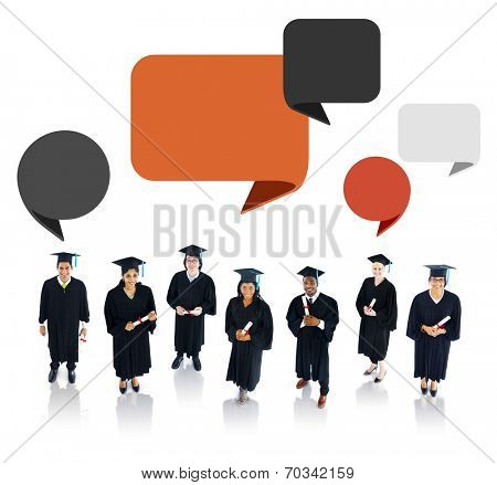 Successful Graduation Student with Speech Bubble