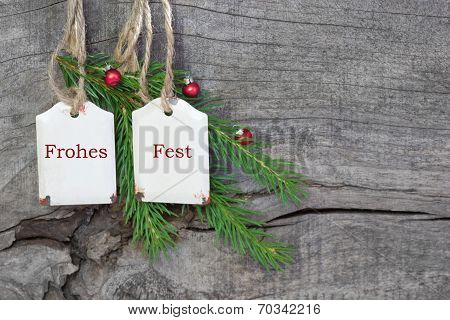 German Greeting Card For Christmas Red And Green - Wooden Background For A Card