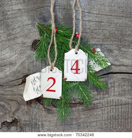 Top View Of Christmas Decoration With 24 On Wooden Background - Country Style