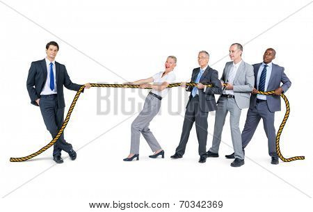Business People Playing Tug of Wars