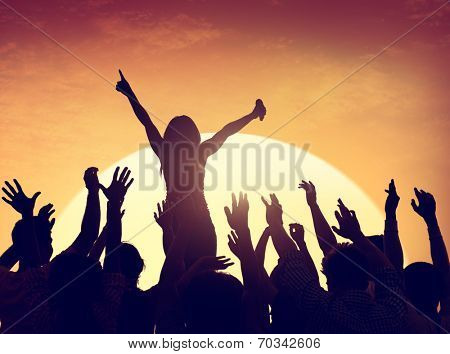 Group of People Party in Back Lit