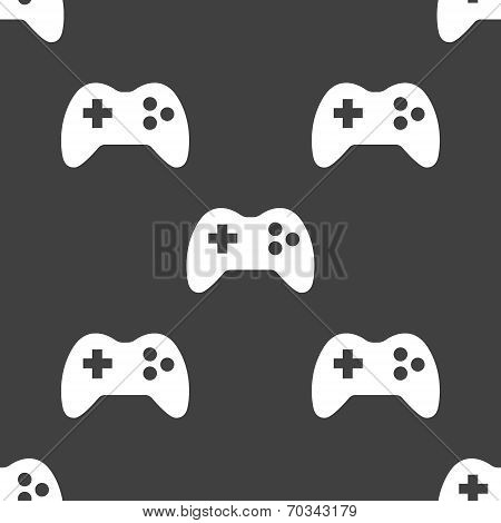 Gaming Joystick web icon. flat design. Seamless pattern.