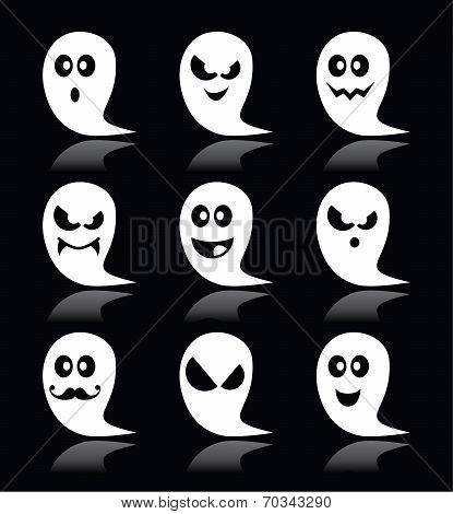 Halloween ghost vector icons set on black backgroud