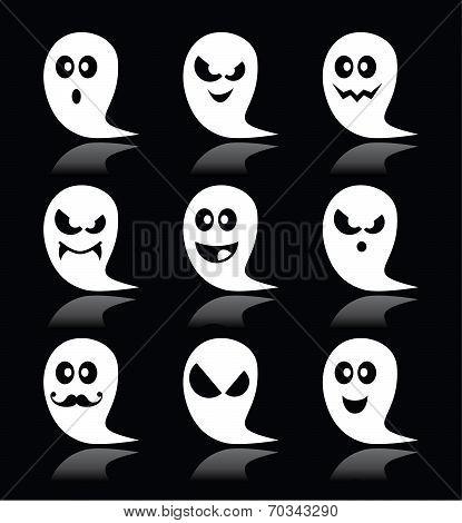 Halloween ghost vector icons set on black backgroud