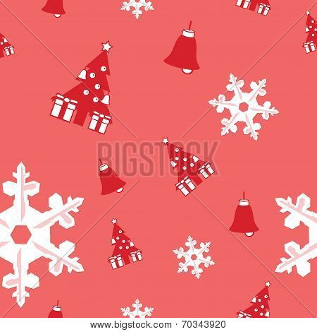 seamless background of Christmas tree, bell and snowflake