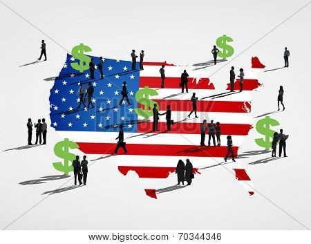 American flag with it's currency and a group of business people.