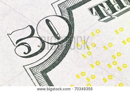 Macro Shot With Fifty Dollar Bill Isolated On White Background