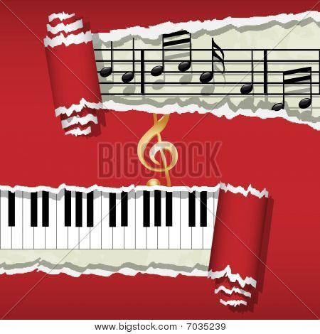 Notas da melodia-Piano-música