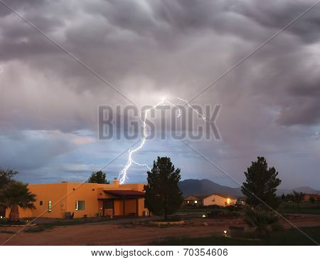 A Bolt Of Lightning In A Rural Neighborhood