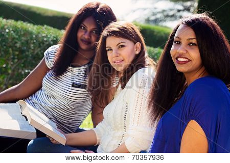 Girls Studying Their Bibles At The Park