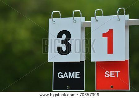 Closeup view of tennis scoreboard