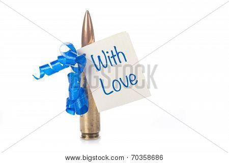 Bullet With A Card Isolated On A White Background