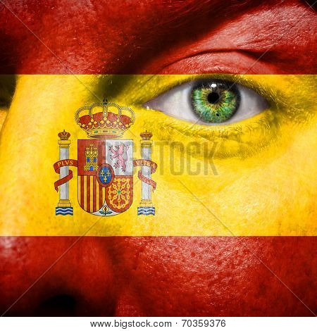 Spanish Flag Painted On Mans Face