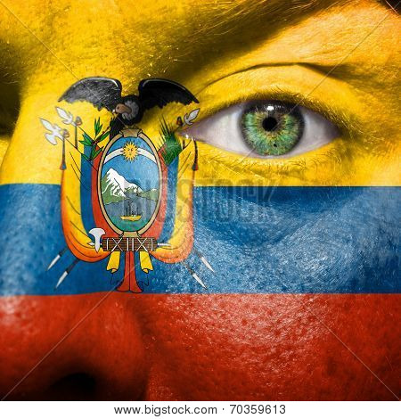 Flag Painted On Face With Green Eye To Show Ecuador Support