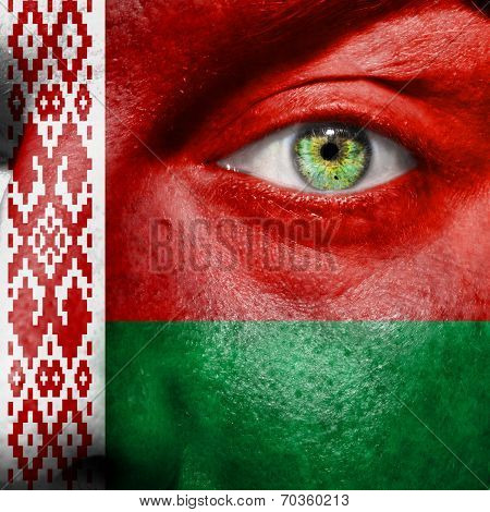 Belarus Flag Painted On A Man's Face