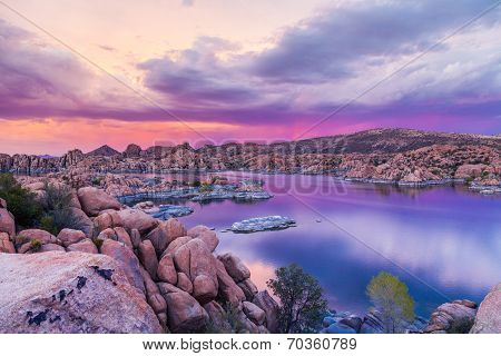 Sunset at Watson lake Prescott Arizona