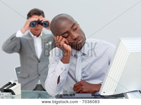 Unhappy Businessman Getting Bored And His Manager Looking Through Binoculars