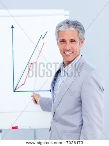 Joyful Businessman Giving A Presentation