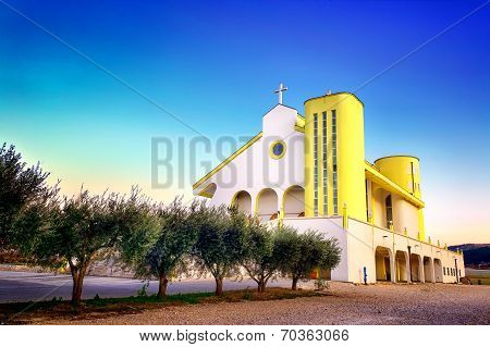 Hdr Image Of Modern Church In Croatia With Blue Sky Above