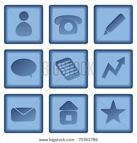 Set of blue buttons with business icons isolated on white background.