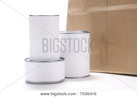 Canned Food With Grocery Bag