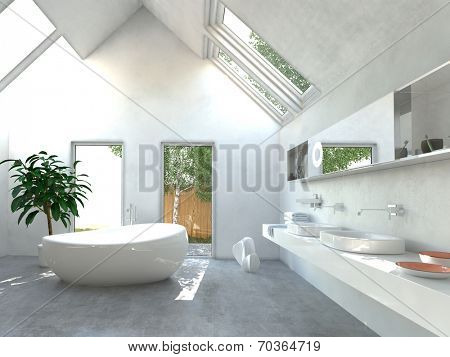 Modern light bright bathroom interior with a double wall-mounted vanity unit and mirror, freestanding ceramic bathtub and double volume sailing into the apex of the roof with skylights